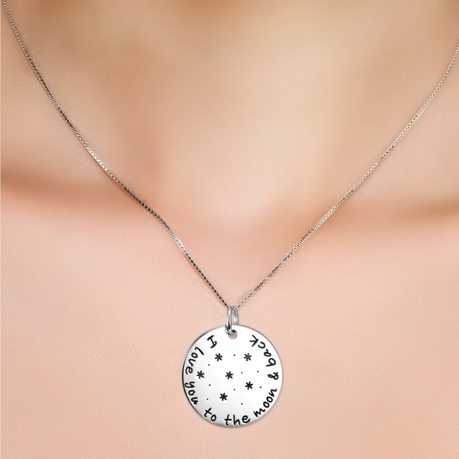 CS-DB Womens Necklaces by Silver Pendant Girls I Love You To The Moon And Back Round Charm Girls
