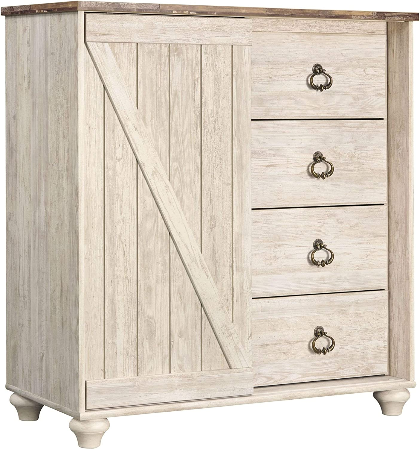Ashley Furniture Signature Design - Willowton Dressing Chest - Casual - 4 Drawers/Sliding Door Storage - Whitewash Finish/Faux Plank Top - Antiqued Brass Hardware