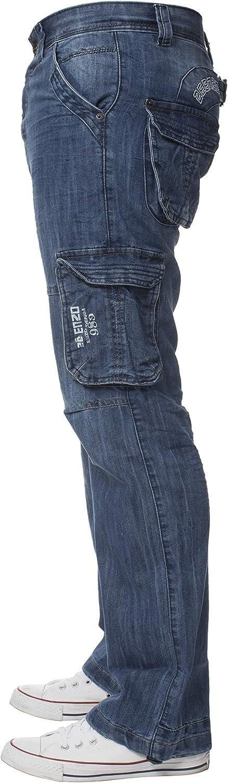 Enzo stile cargo Pantaloni in denim da uomo