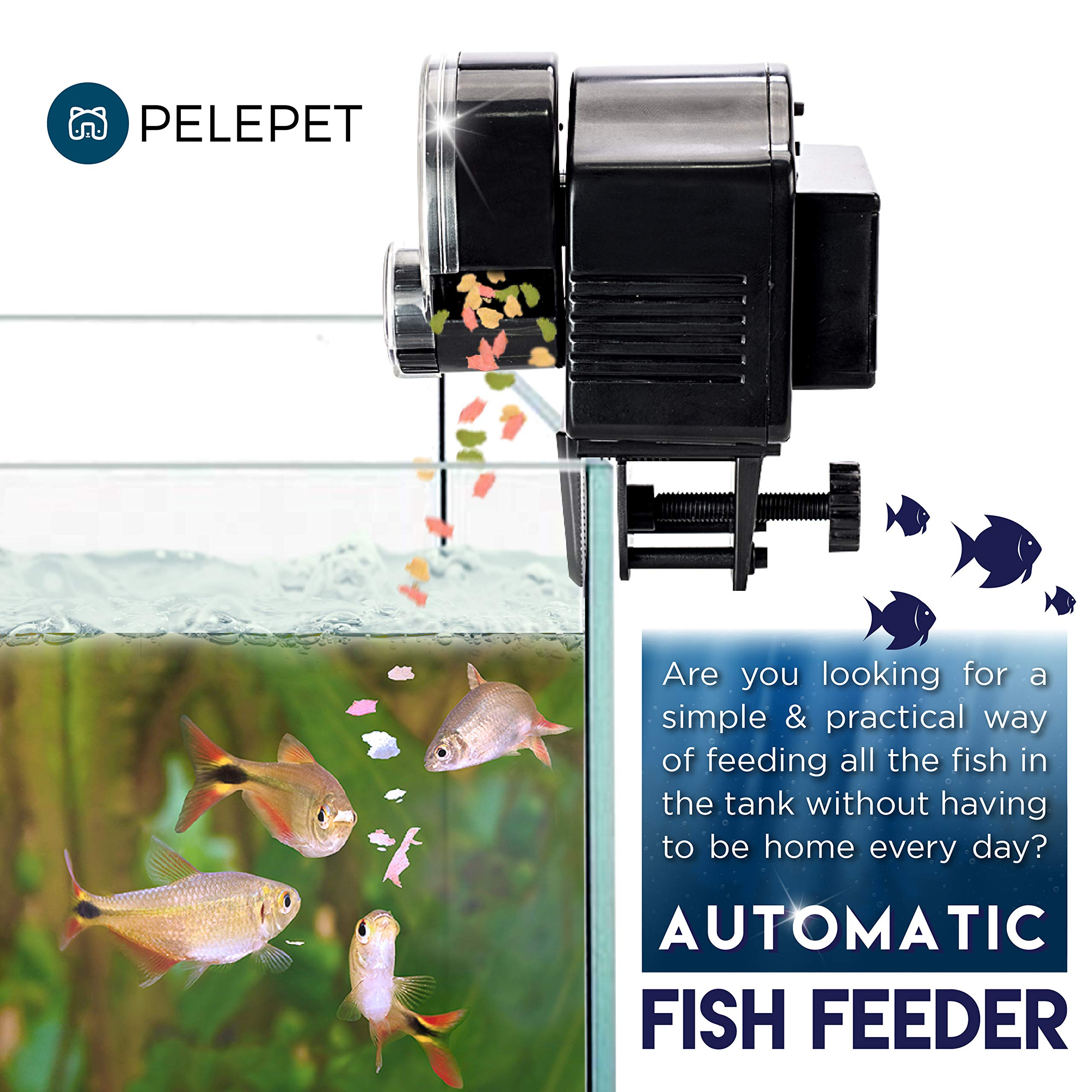 PELEPET Automatic Fish Feeder - Aquarium Feeder - Fish Food Vacation Feeder - Auto Feeding Unit + Net for Fish Tank, Thermostat & Jelly Fish - Everyday Fish Food Dispenser by PELEPET (Image #5)