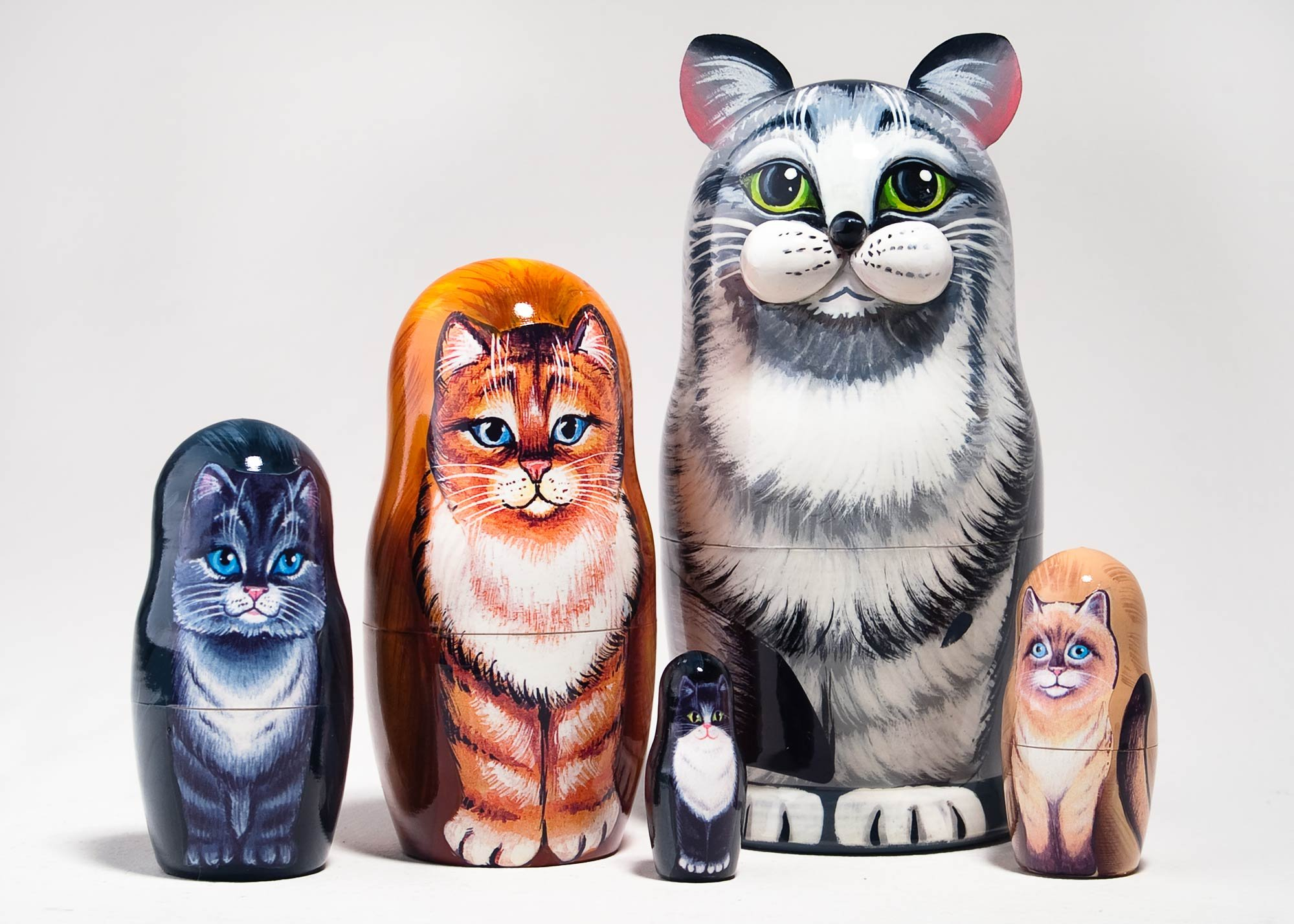 Grey Tabby Cat Russian Nesting Doll 5pc./6''