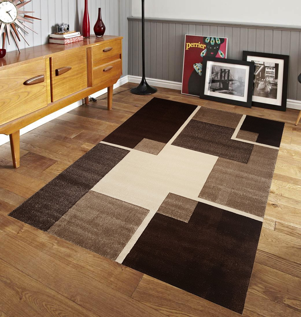 Amazon.com : Renzo Collection Easy Clean Stain And Fade Resistant Luxury  Brown Area Rug For Bedroom Kitchen Dining Living Room, Modern Geometric  Space ...