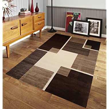 Renzo Collection Easy Clean Stain and Fade Resistant Luxury Brown Area Rug for Bedroom Kitchen Dining Living Room, Modern Geometric Space Design with Jute Backing (Size 5' x 7' Feet)