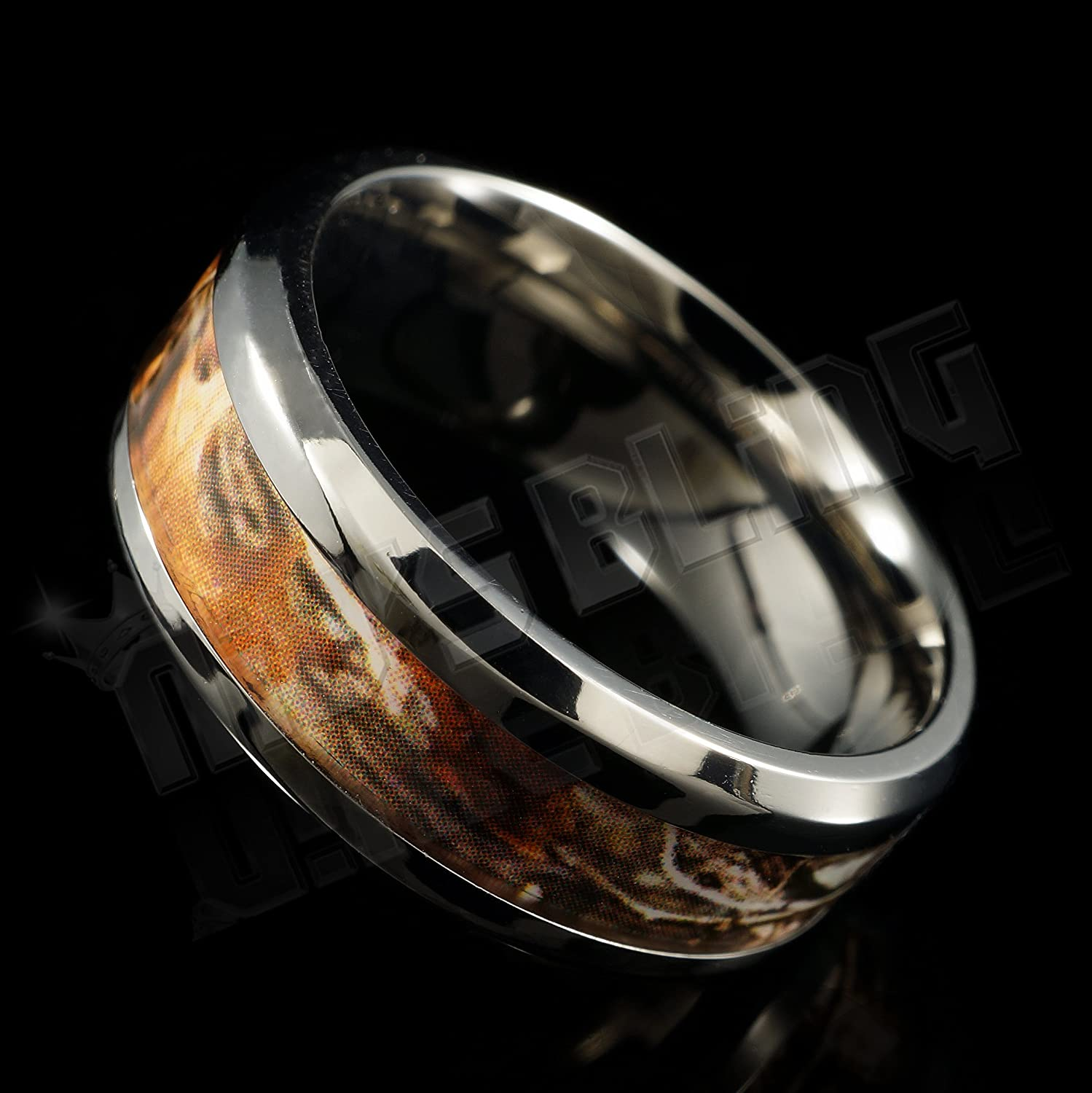Titanium Camo Inlay 8mm Comfort Fit Wedding Band Ring NIVS BLING
