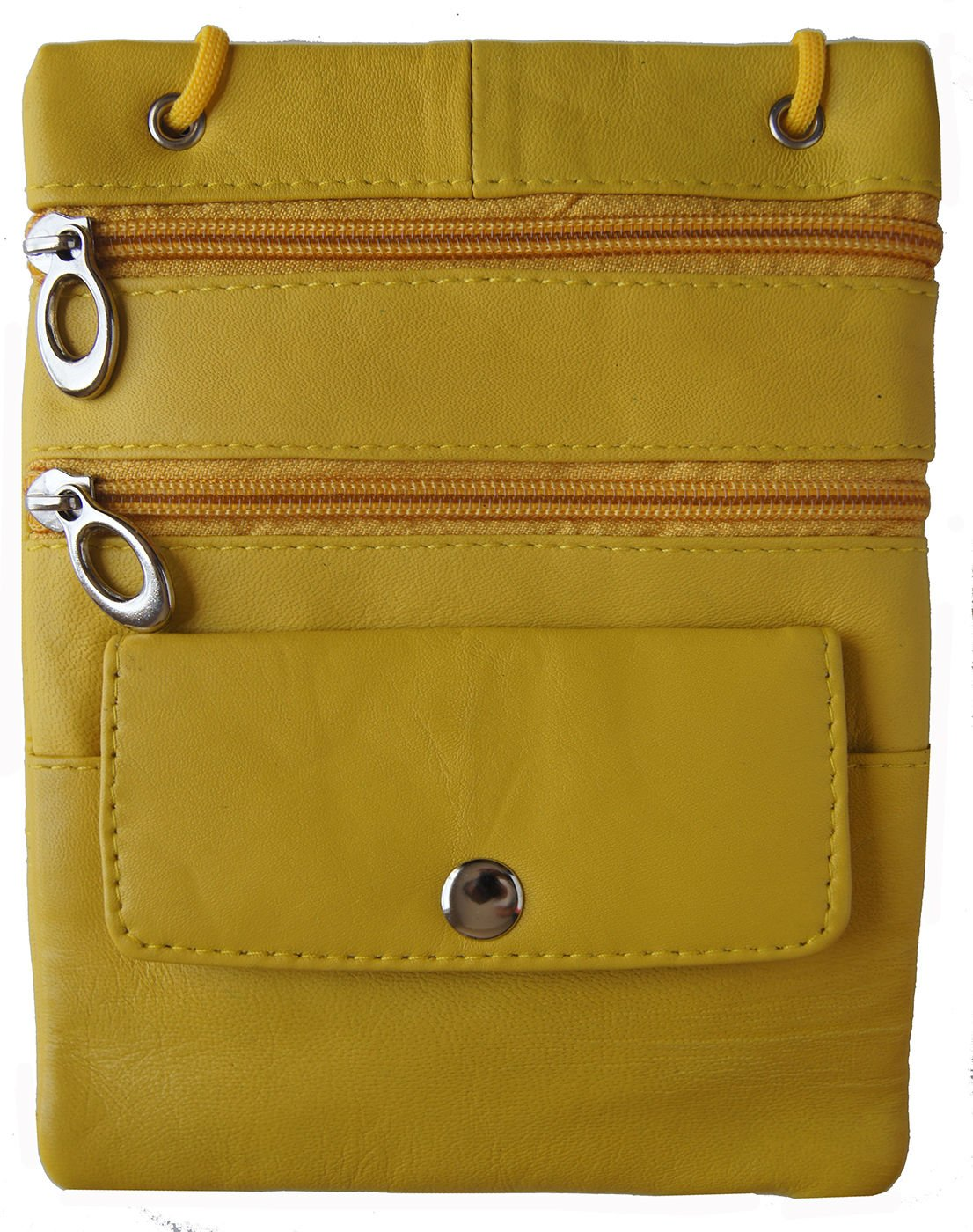 Yellow Genuine Leather Passport Id Documents Holder Neck Travel Pouch Bag