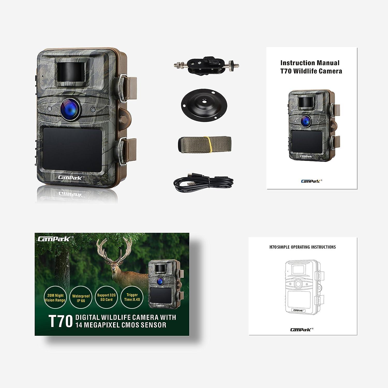 Campark Fotocamera da Caccia 14MP 1080P Fototrappola da Caccia Infrarossi Invisibili 44pcs IR LEDs Visione Notturna Fino a 20m Impermeabile IP66 Macchina Fotografica da Caccia