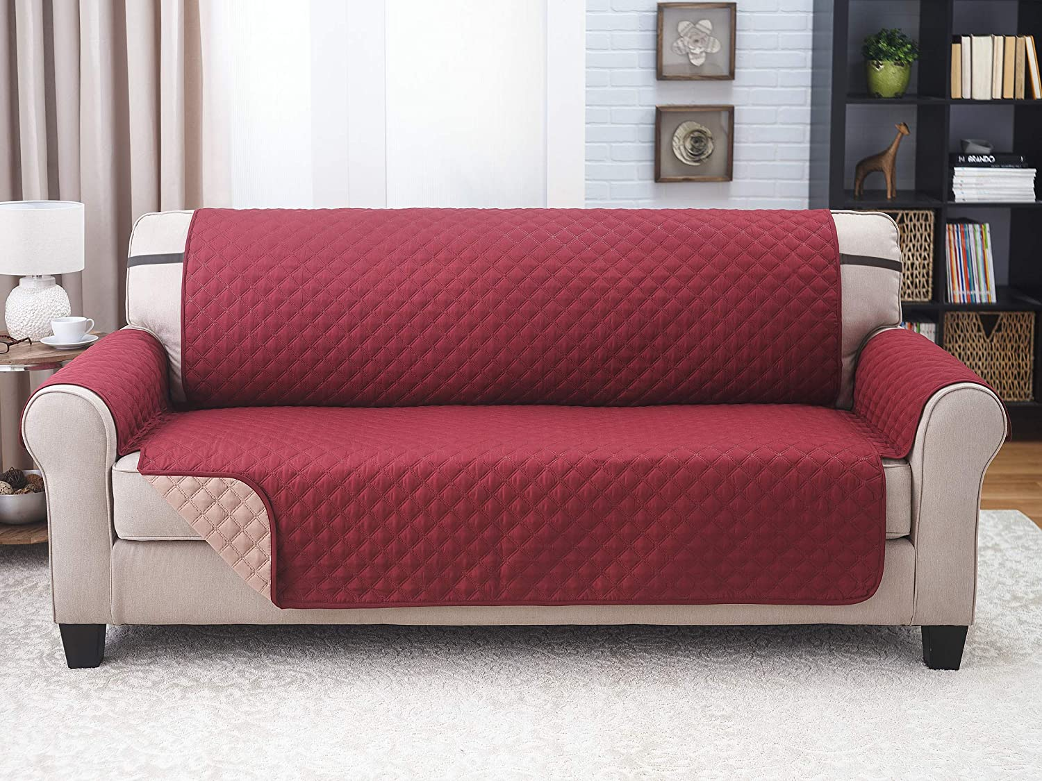 Couch Guard XL Sofa Cover, Slipcover, Furniture Protector. Shield & Protects from Dogs, Cats, Pets, Kids, Stains. Reversible, Quilted with Elastic Strap. Easy Wash & Dry. Wine & Mocha