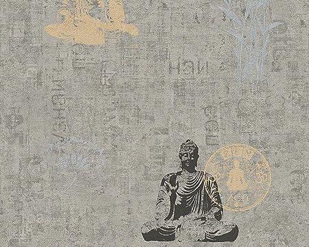 As Creation 94312 1 Buddha Zen Lotus Flower Wallpaper Grey Black
