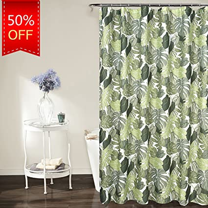 KindoBest Leaves Pattern Green Shower Curtains For Bathroom Waterproof Easy Care Polyester Fabric Stall Curtain