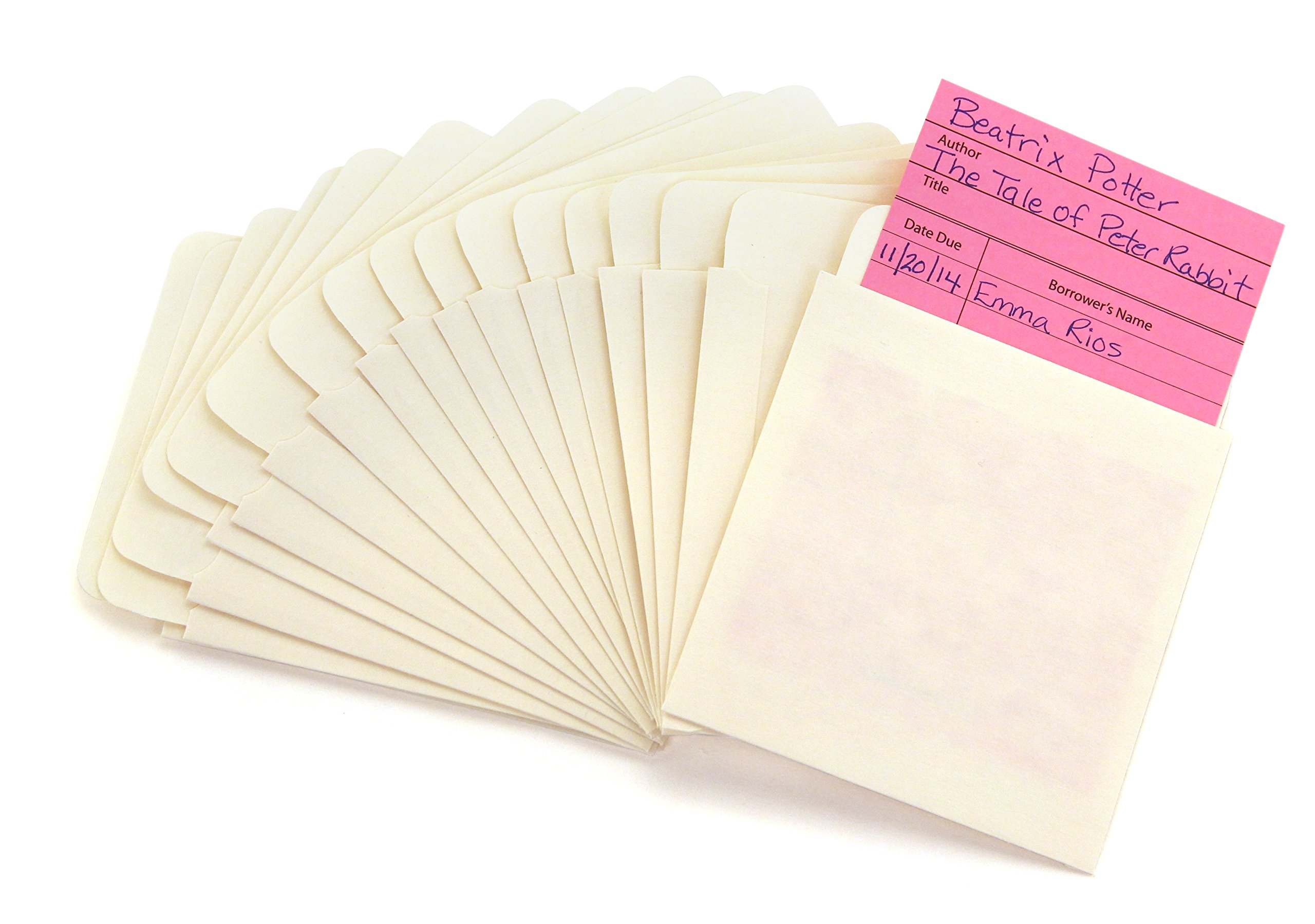 Hygloss Products Manila Library Pockets – Self Adhesive Pocket Envelopes – 4.5 x 3.5 Inches, 40 Pack