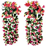 DEYECONICA Home Decor, Plastic & Silk, Artificial Hanging Lily Flowers Set with Metallic Stands, 24 Inches (Red & White)