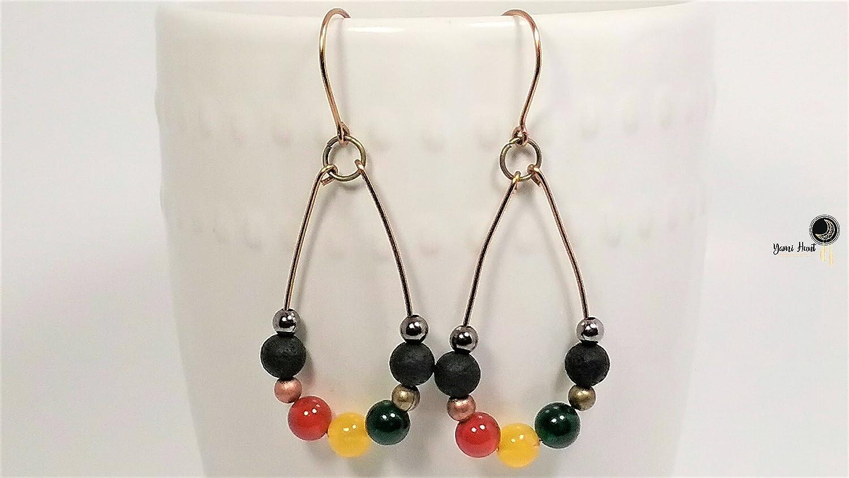 Amazon.com  Rasta Reggae Style Jade and Carnelian Bead Earrings  Handmade 1368c075f