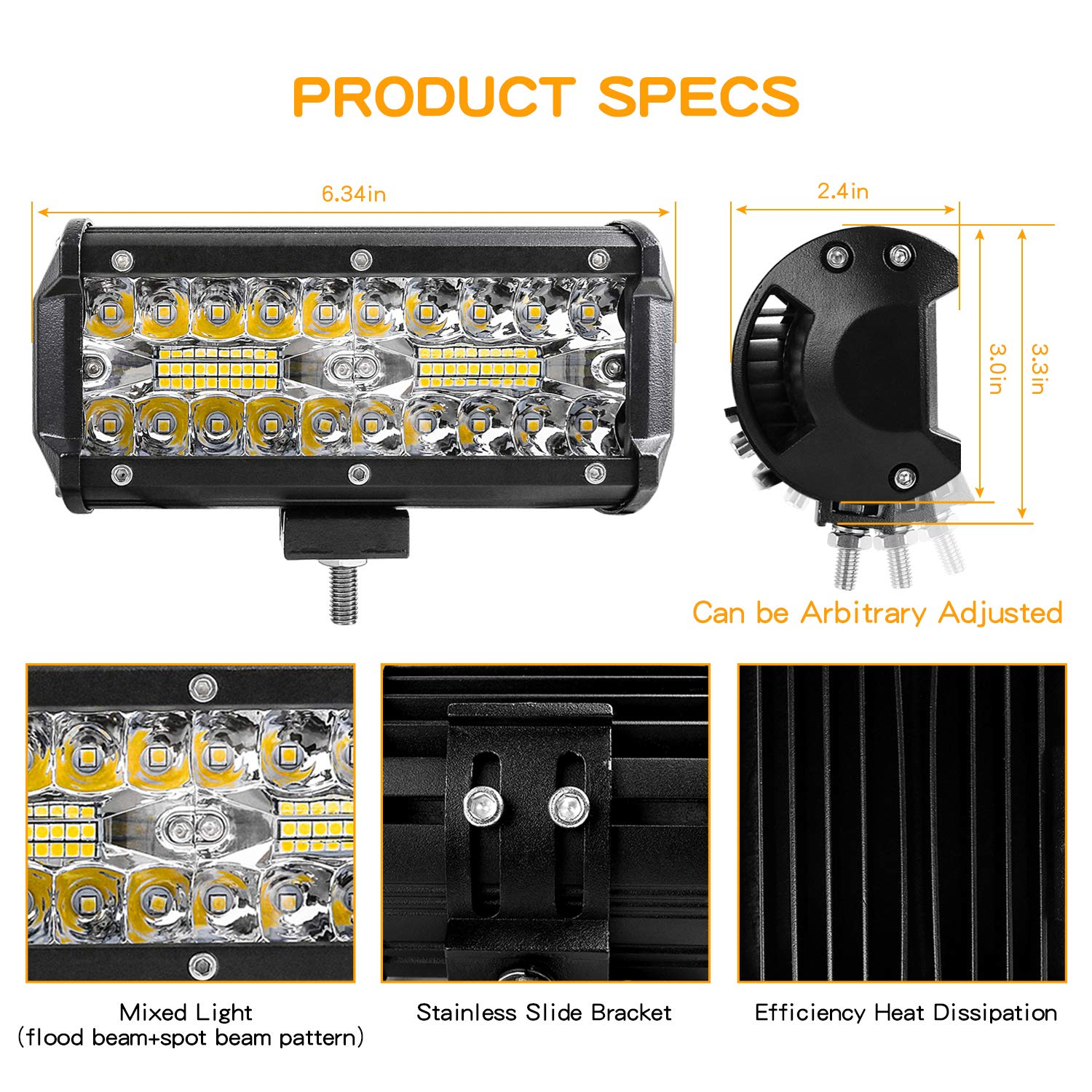 2Pcs Off Road Lights 240W 24000lm with Led Wring Harness Zmoon Led Light Bar Waterproof Led Spot/&Flood Combo Beam Light Bar for SUV//ATV//Jeep//Boat 10ft //2 Lead