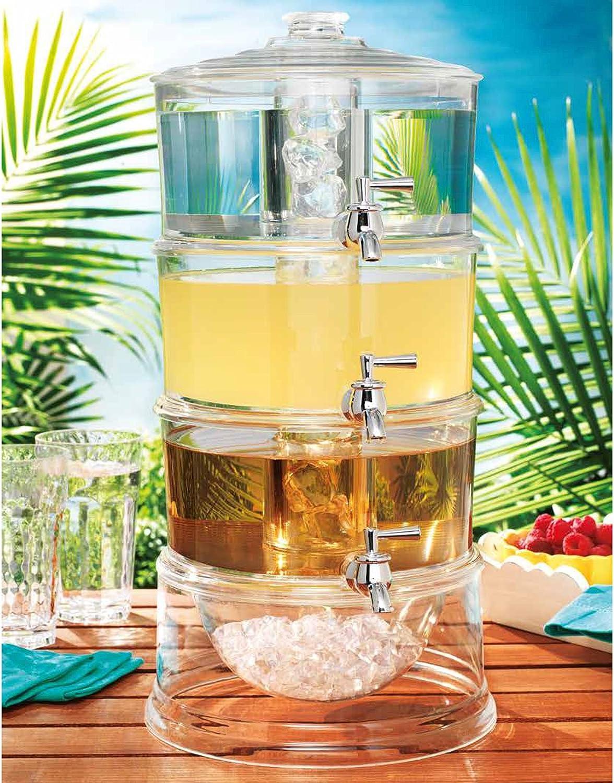 Home Essentials Acrylic 3-Tier 1 Gallon Dispensers W/Ice Chilling 667