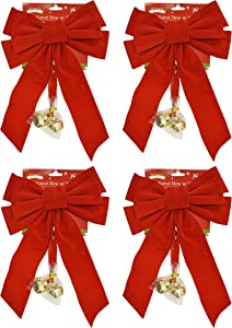 Set of 4 Red Velvet Festive Holiday Christmas Bows With Bells - Perfect as Tree Ornaments - Tree Filler - Decorative Ornaments - Perfect for Preparing for the Holidays! (4, Red Velvet With Bells)