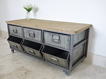 Get Goods Industrial Metal Storage Cabinet   6 Metal Drawers / Wooden Top    Vintage Style