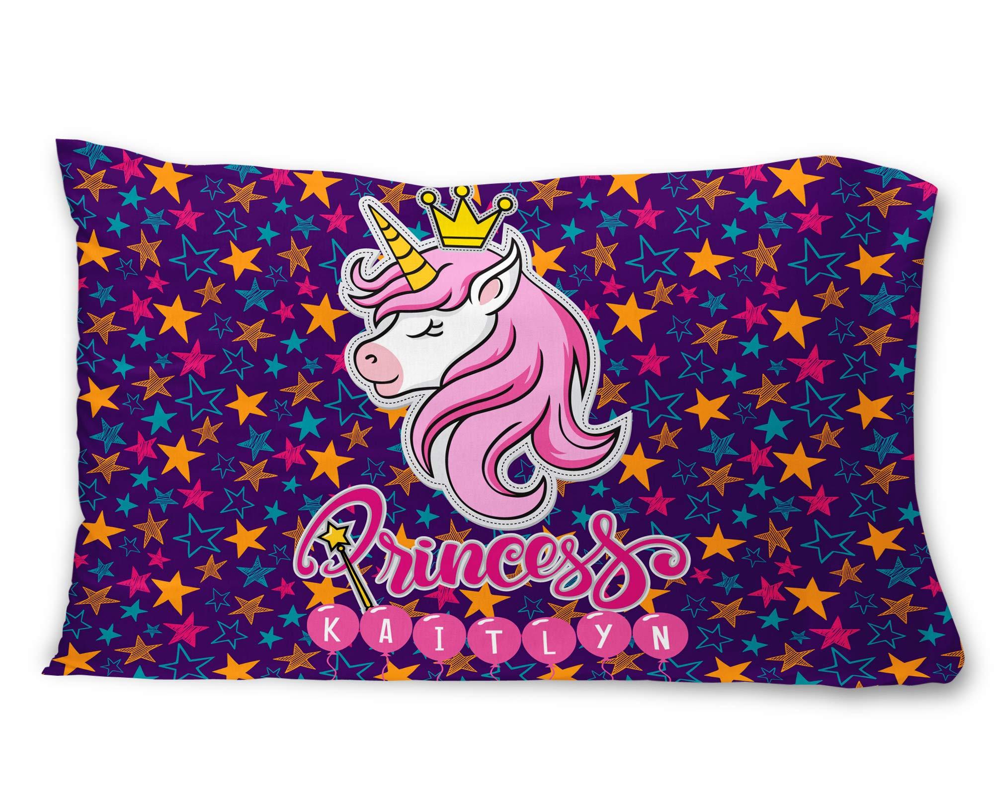 Bad Bananas Unicorn Princess - Kids Custom, Personalized (Customized) Microfiber Pillowcase Gift for Girls (Pillow Cover, Sham) - Fits Standard Size Pillows