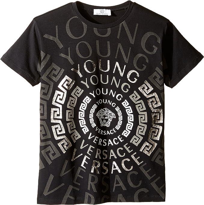 7ca8ae069e0a Versace Kids Boy s Short Sleeve T-Shirt w  Greca Medusa Logo Graphic (Big