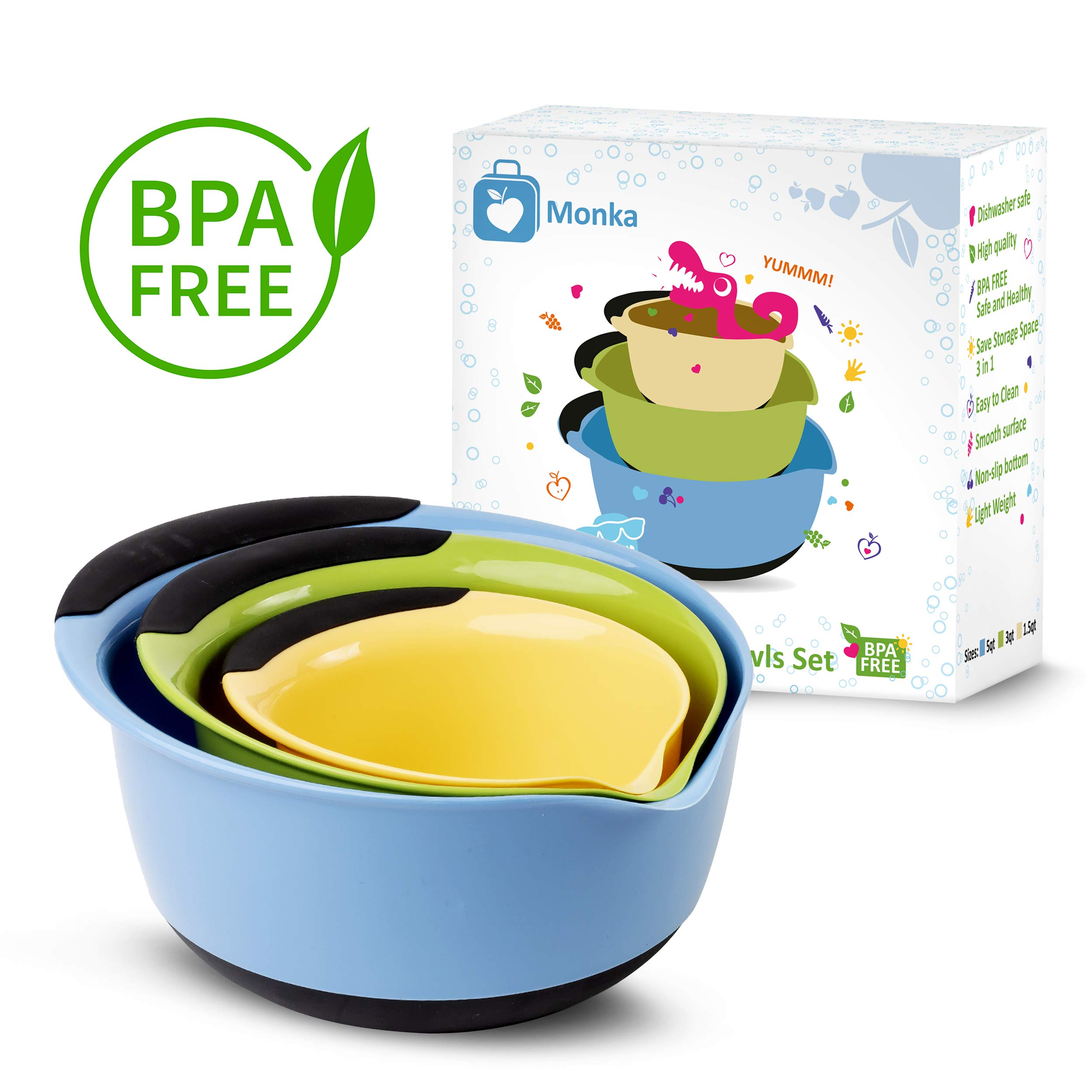Premium Plastic Mixing Bowls (Set of 3) Sizes: 1.5, 3 & 5 QT - With Non Slip Bottom & Pouring Spout. For Healthy Cooking & Baking, Nesting and Stackable Free Bonus - measuring cup by MONKA (Image #7)