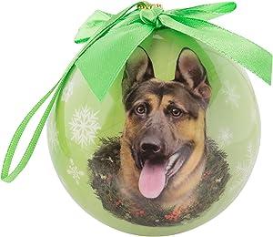 eBigValue Pets Christmas Ball Shatter Proof Bow Xmas Tree Ornaments Seasonal Dog Collection (3 inch) (German Shepherd)