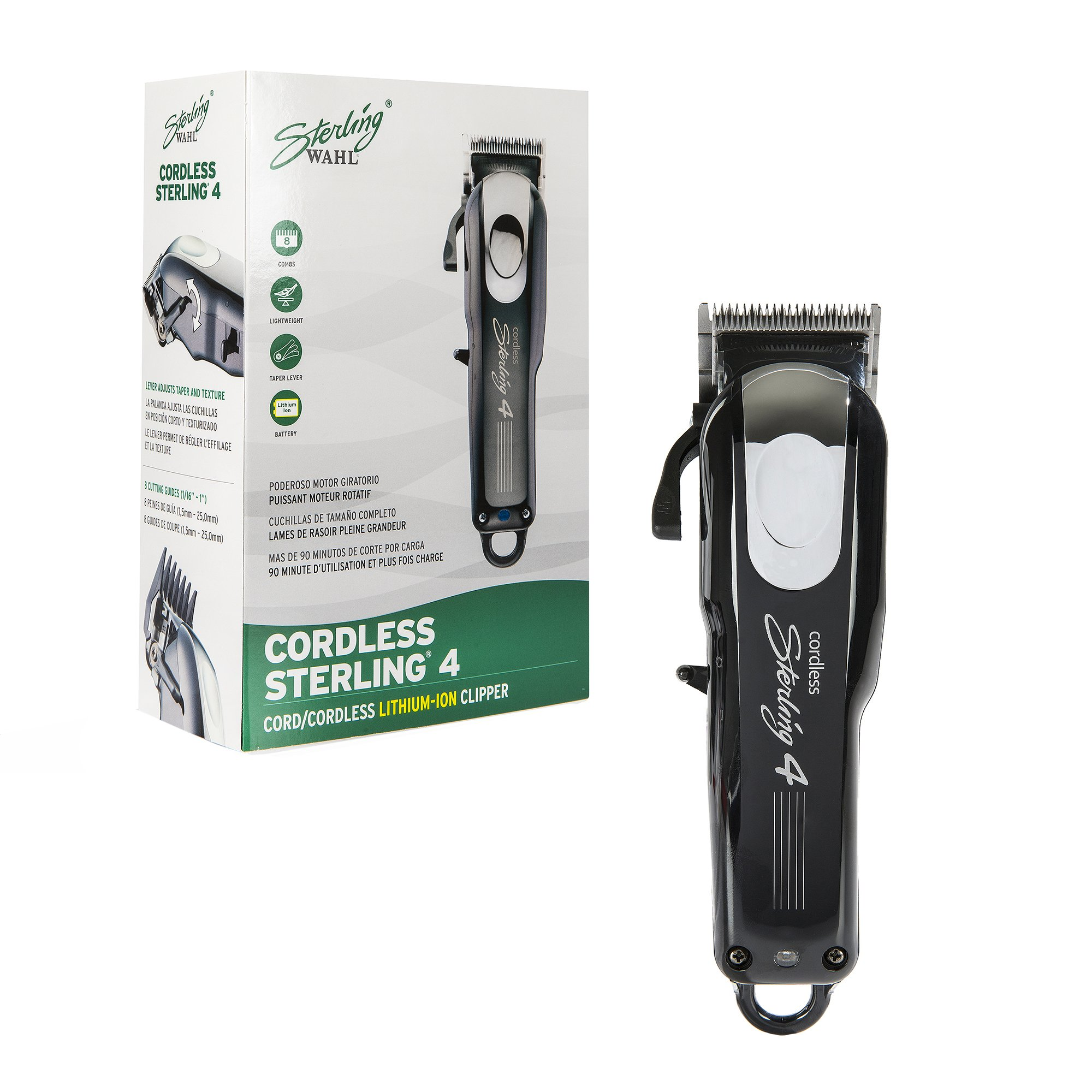 Wahl Professional Cord/Cordless Sterling 4 Clipper 8481, Ideal for Professional Stylists and Barbers, Rotary Motor, Black