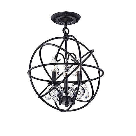 Benita 3 Light Antique Black Metal Globe Crystal Flush Mount