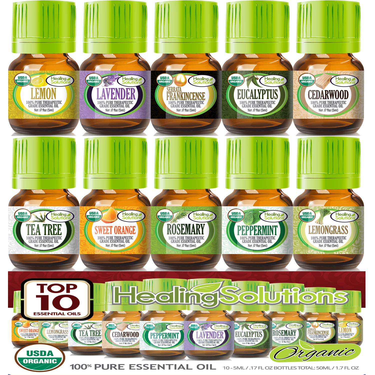 Top 10 USDA Certified Organic Essential Oils Set (10 Pack - 100% Pure & Natural) Therapeutic Grade - 5ml Set by Healing Solutions