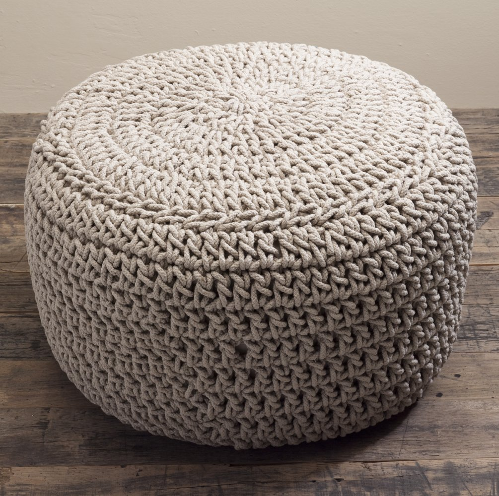 Natural Beanbag Footstool Large Knit Chunky Knitted Pouffe: Amazon.co.uk:  Kitchen U0026 Home