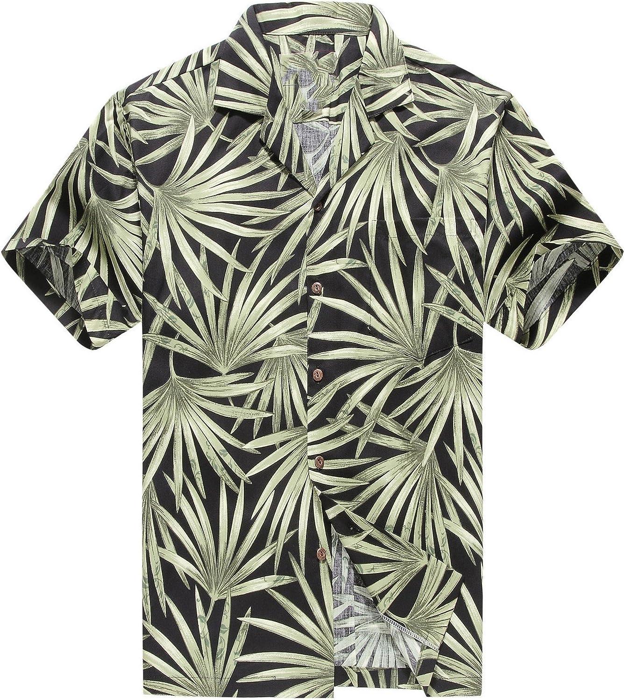 Hecho en Hawaii Camisa Hawaiana de los Hombres Camisa Hawaiana XLHoja de Bambú Allover en Negro Verde: Amazon.es: Ropa y accesorios