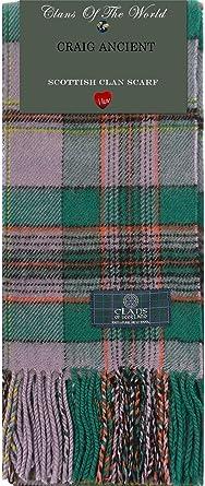 Craig Ancient Tartan Clan Scarf 100/% Soft Lambswool