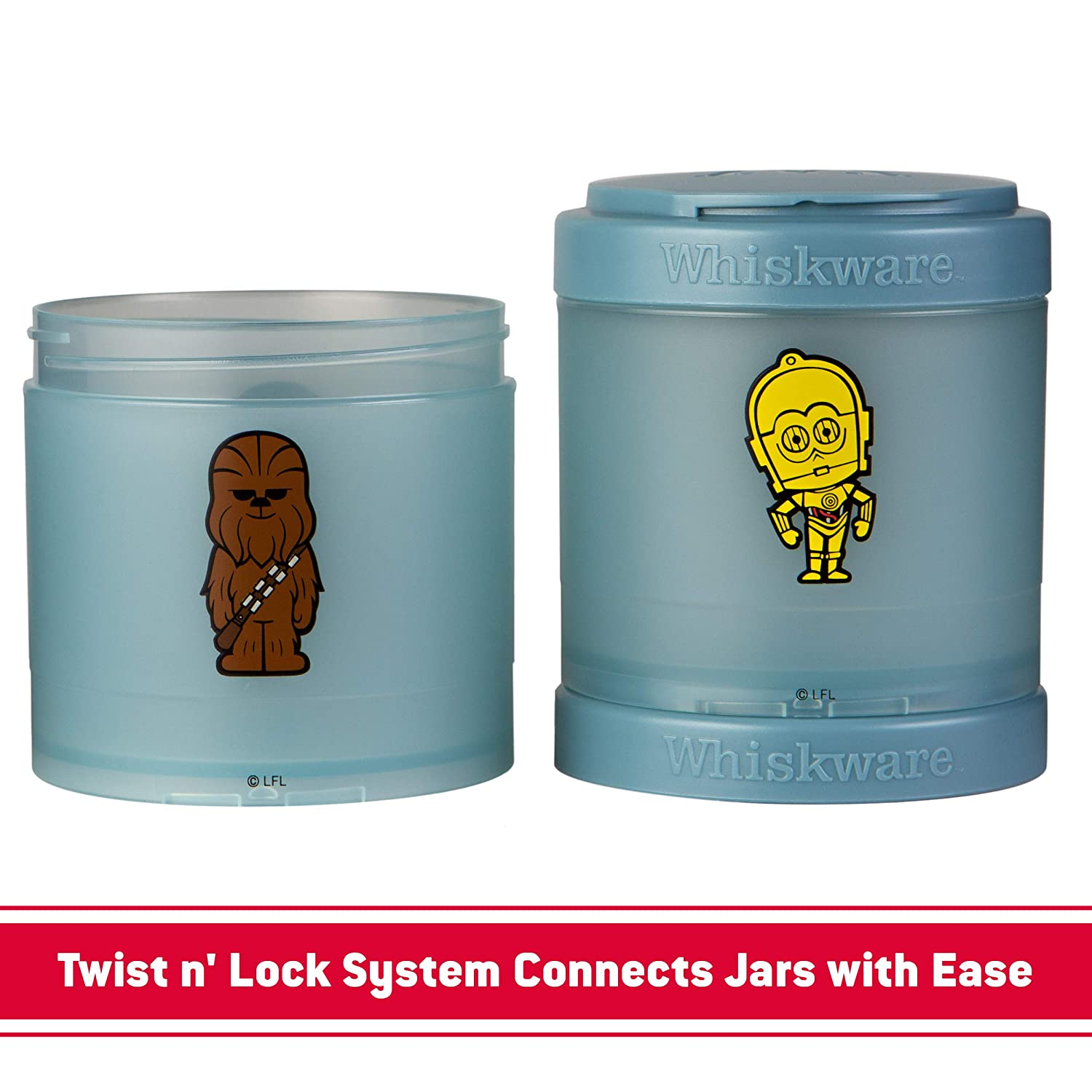 Whiskware C03686 Star Wars Stackable Storable Snack Pack 2 1//3 cups Ewok /& Yoda
