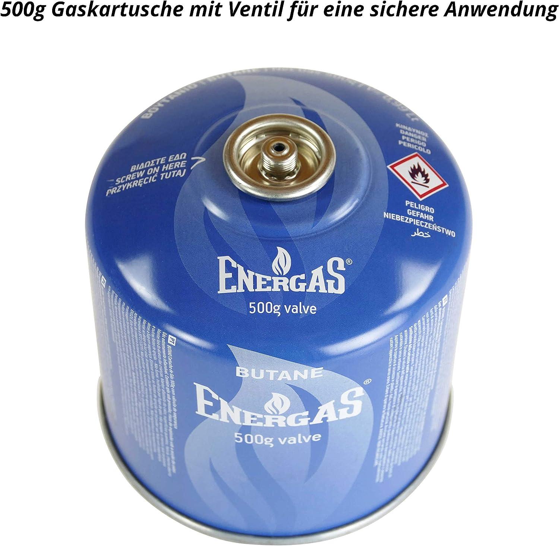 EN 417 cartuchos de v/álvula de camping gas butano cartucho con rosca 2 cartuchos de rosca butano de 500 g EN521 cartucho de butano cartuchos para tornillos de v/álvula
