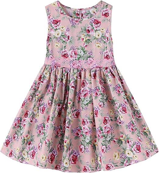 Kidsform Madchen Kleid Rose Blume Drucken Festlich Kleid Baumwolle Kleid Blumen Kleid Tupfen Kleid Amazon De Bekleidung