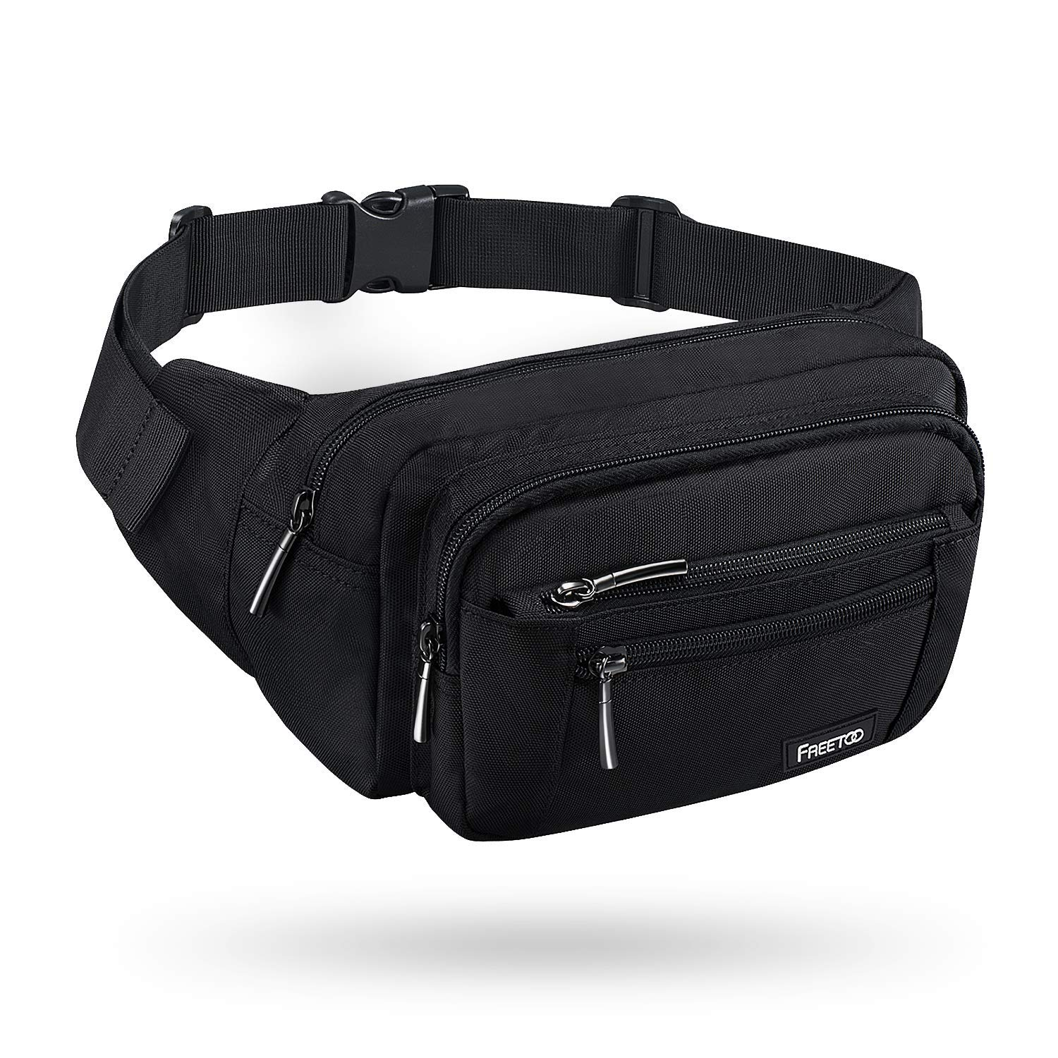 FREETOO Waist Pack Bag Fanny Pack for Men&Women Hip Bum Bag with Adjustable Strap for Outdoors Workout Traveling Casual Running Hiking Cycling (Black) by FREETOO
