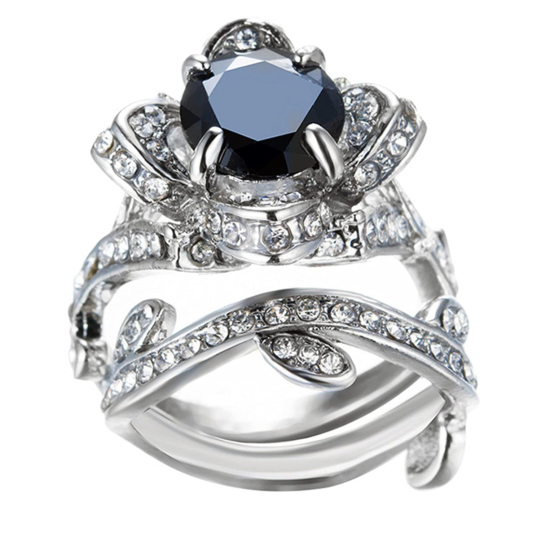Challyhope Clearance Women s Vintage Elegant Rose Diamond Silver Plated Engagement Wedding Band Ring Black, 9