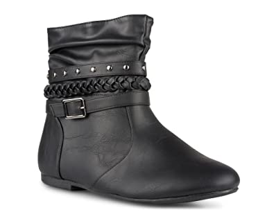 Women's SHELLY Faux Leather Ankle-High Slouchy Boot with Multi Buckle Straps