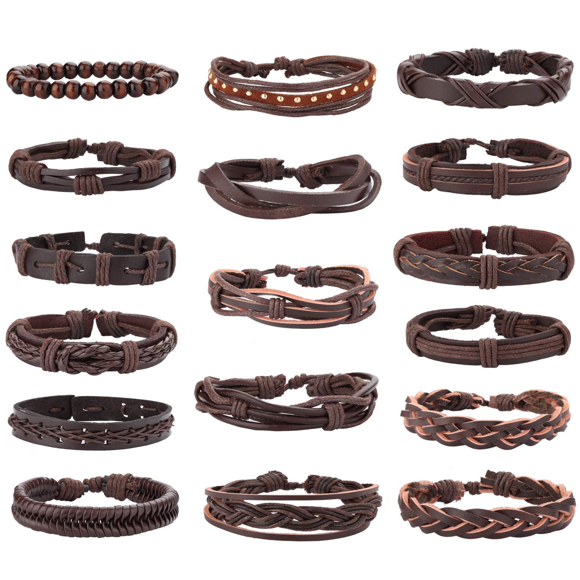 Jstyle 17Pcs Braided Leather Bracelet for Men Women Wooden Beaded Cuff Wrap Bracelet Adjustable Brown