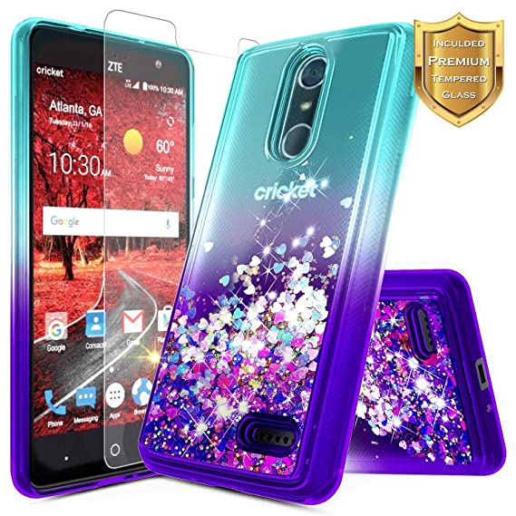 new concept f5140 460f3 NageBee Compatible with ZTE Blade Spark (Z971) / ZMax One (Z719DL) / Grand  X4 (Z956) w/[Tempered Glass Screen Protector], NageBee Glitter Liquid ...