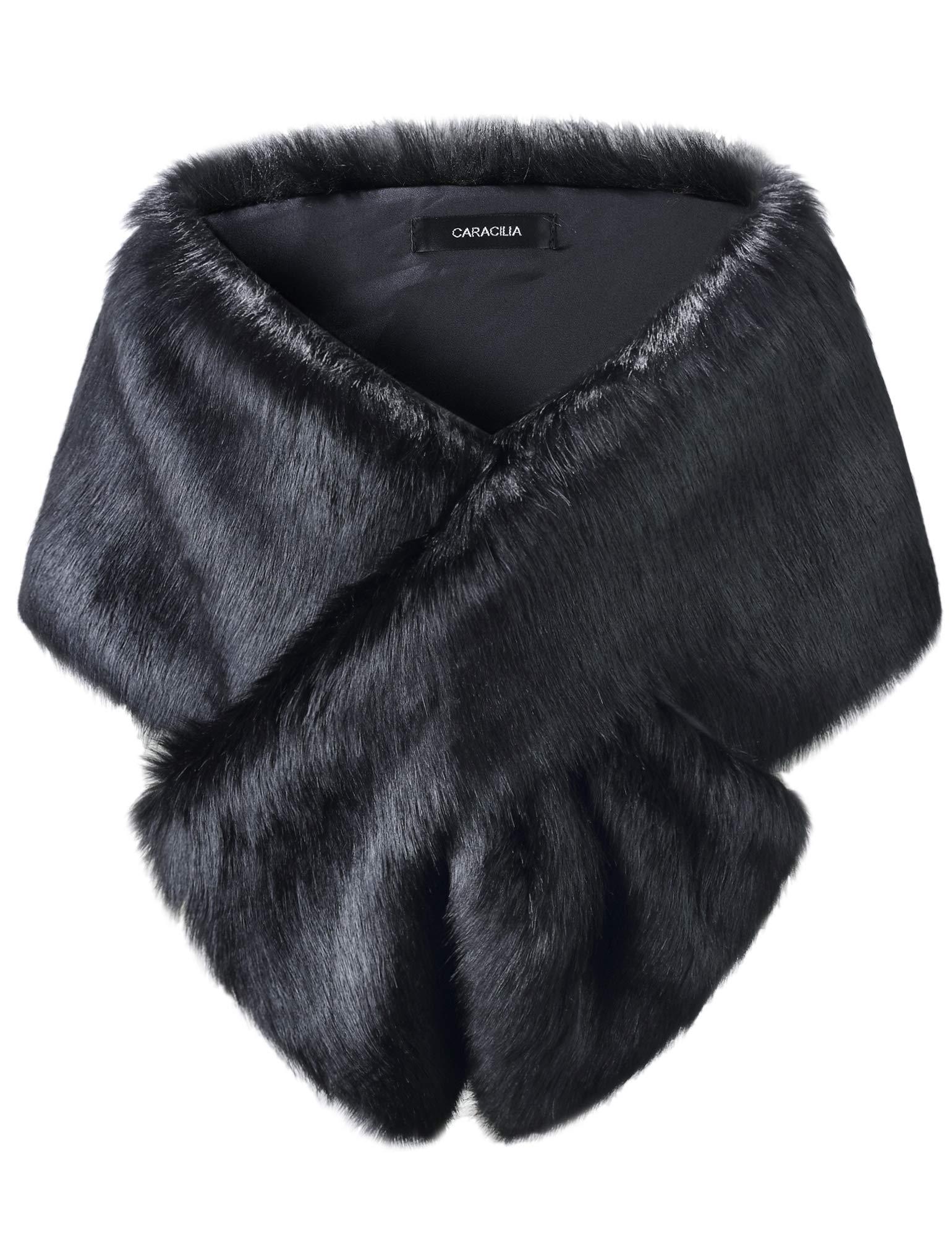 Caracilia Women's Faux Fur Shawl Wraps Cloak Coat Sweater Cape for Evening Party changmaohei2 L CAFB3 by Caracilia