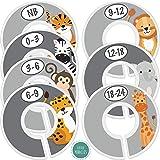 Baby Closet Size Dividers - 7x Safari Nursery Closet Dividers for Baby Clothes - Elephant Giraffe Zebra Lion Monkey Nursery Decor - Baby Closet Dividers for Boy or Girl - [Safari] [Grey/Gray}