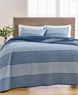 MARTHA STEWART COLLECTION COTTON TWIN QUILT PLEATS AND THANK YOU BEIGE BLUE