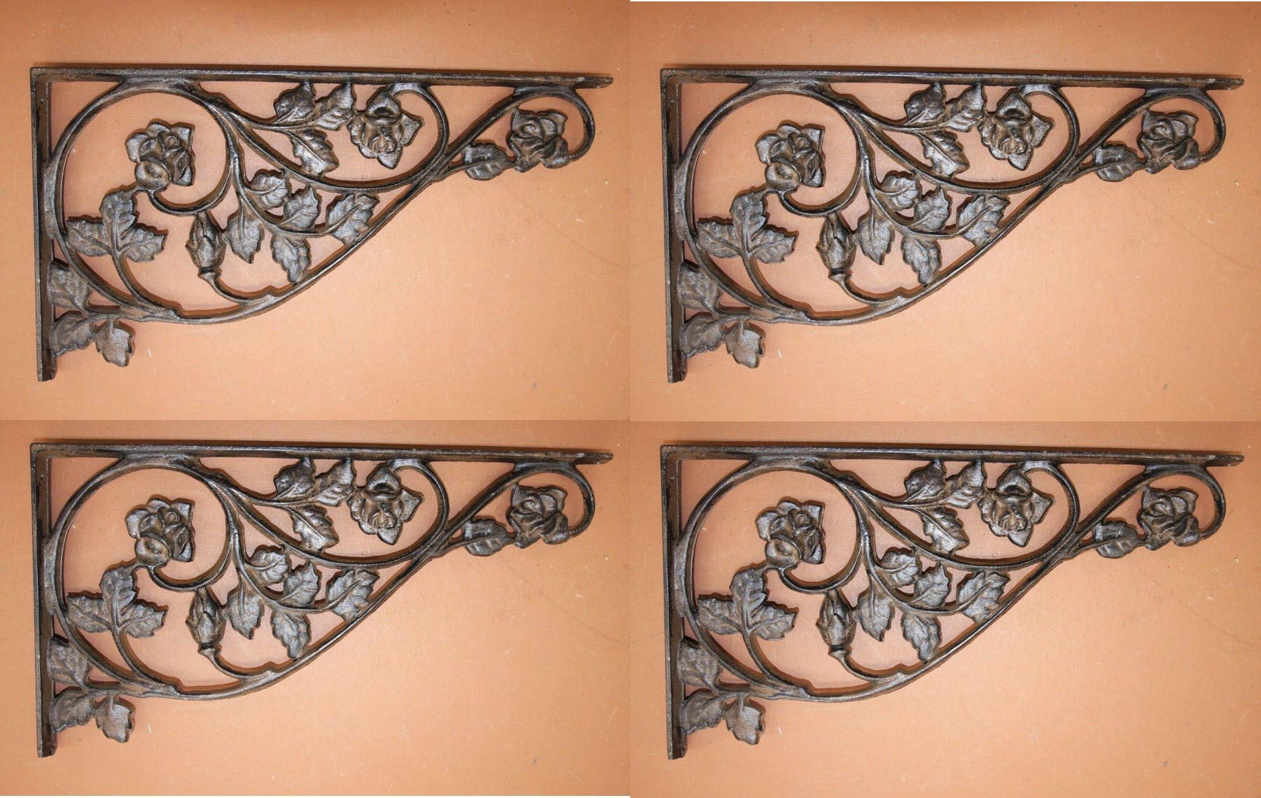 Southern Metal Set of 4 Extra Large Cast Iron Shelf Brackets 16 7/8'' Vintage Look Rose Design, B-20