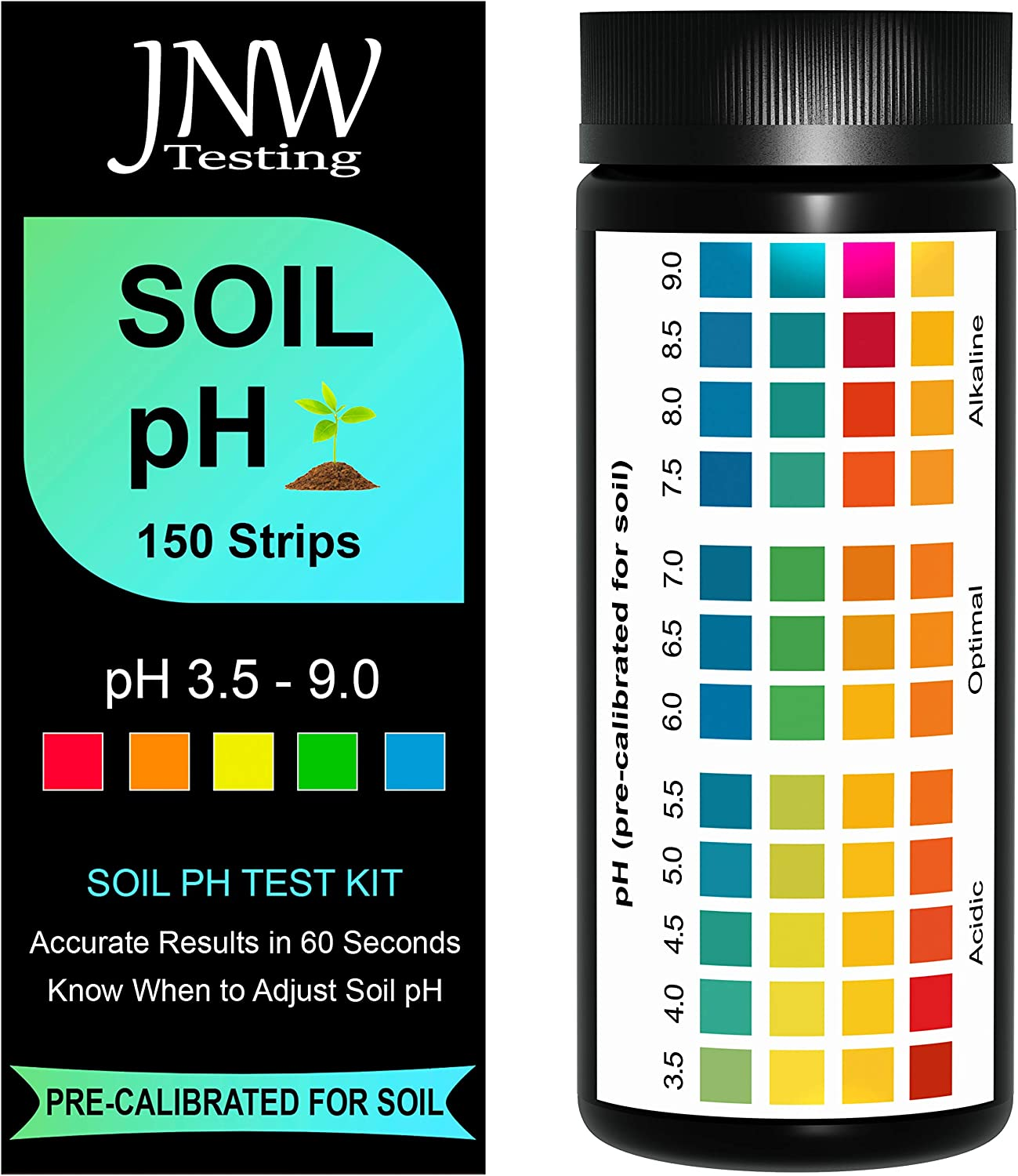 JNW Direct Soil pH Test Strips - 150 Strip MEGA Pack, Best Kit for Accurate Soil Testing at Home, pH 3.5-9.0, Free App & Ebook Included, is Your Soil Acidic, Optimal or Alkaline (Packaging May Vary)