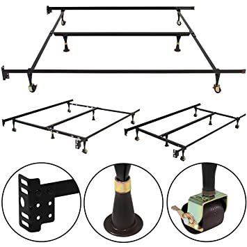best choice products metal bed frame adjustable queen full twin size w center support platform