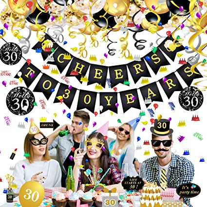 Qpout 30th Birthday Decorations Kit Birthday Party Decor Favors Supplies Men Women Cheers To 30 Years
