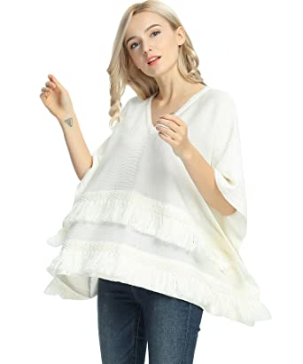 Satinato Womens Poncho Top Loose V Neck Pullover Sweater Knitting