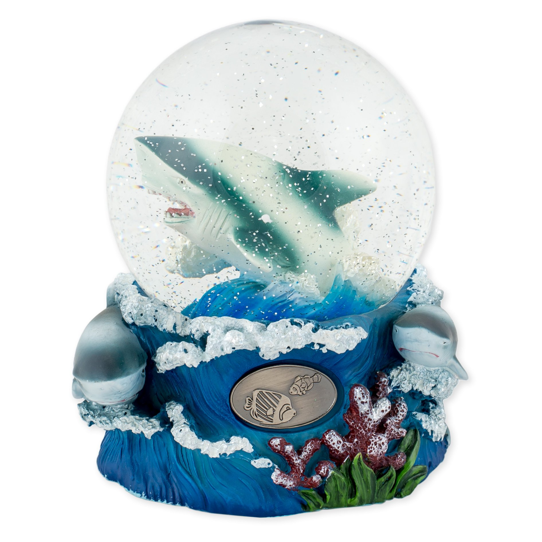 Swimming Ocean Shark 100mm Resin Glitter Water Globe Plays Tune Over the Waves