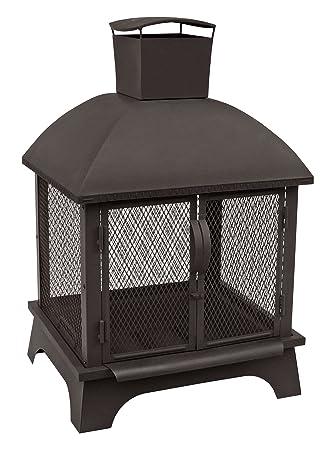 Amazon.com : Landmann USA 25722 Redford Outdoor Fireplace, Black ...