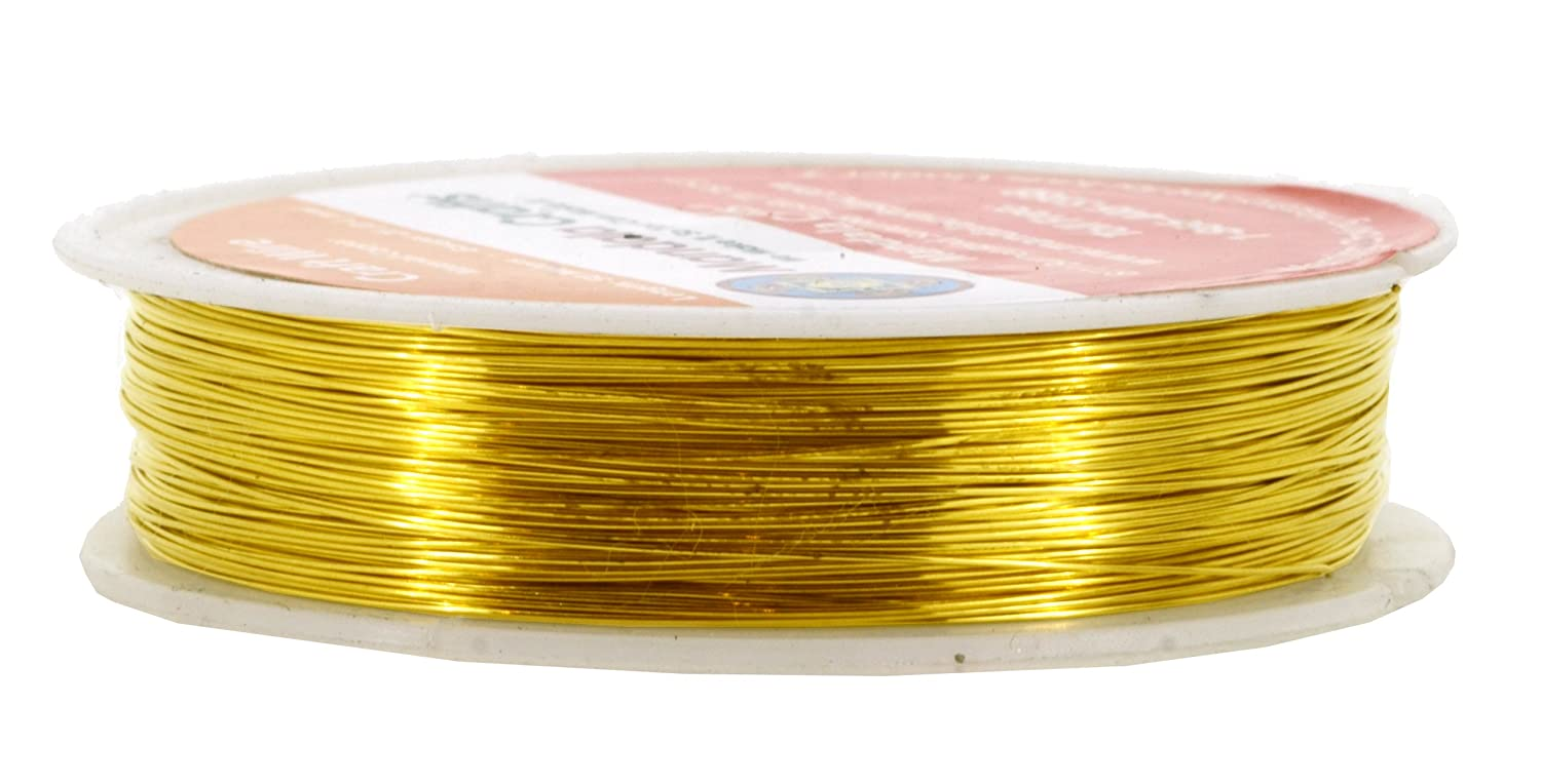 Mandala Crafts 18 20 22 24 26 28 Gauge Thick Solid Copper Wire for Beading Wrapping Jewelry Making 18 Gauge 9M, Gold