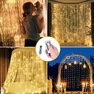 OUSFOT Curtain Lights, 300 LED Curtain String Lights with Remote Control and Timer 8 Modes 9.8 X 9.8ft USB Powered for Valentine Decor Bedroom Party Christmas Wedding Window Indoor No Plug Included